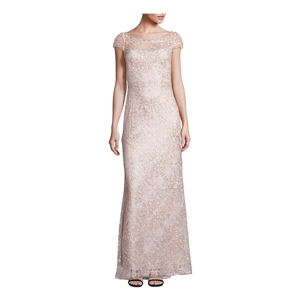 TADASHI SHOJI bird lace gown - Gorgeous fit-and-flare gown with rich lace details. Boat...