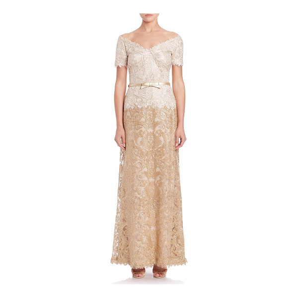 TADASHI SHOJI off-the-shoulder a-line belted lace gown - Elegant A-line dress with intricate lace overlay....