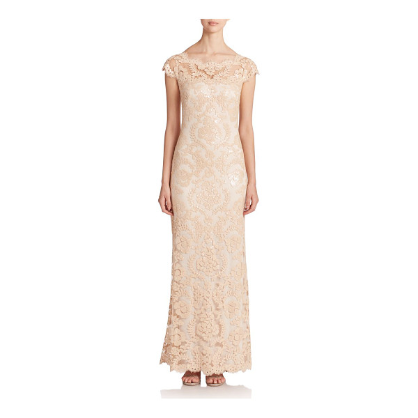 TADASHI SHOJI Sequined lace gown - Eyelash-trimmed lace adorned with iridescent sequins...