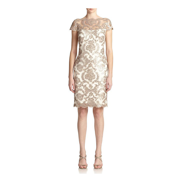TADASHI SHOJI sequined lace sheath dress - Sequined lace lends a feminine touch to this...
