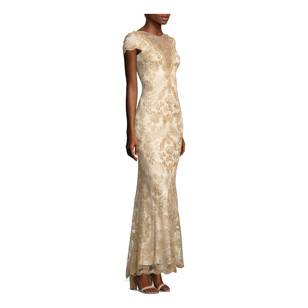 TADASHI SHOJI short-sleeve a-line lace gown - Delicate lace adds loveliness to this feminine A-line gown....