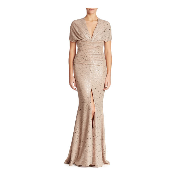 TALBOT RUNHOF glitter sequin gown - Sequin embellished gown with delicate ruching.V-neck. Short...