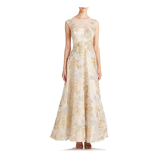 TERI JON Appliquéd floral gown - Flowers, flower everywhere, from the embroidered appliqués...