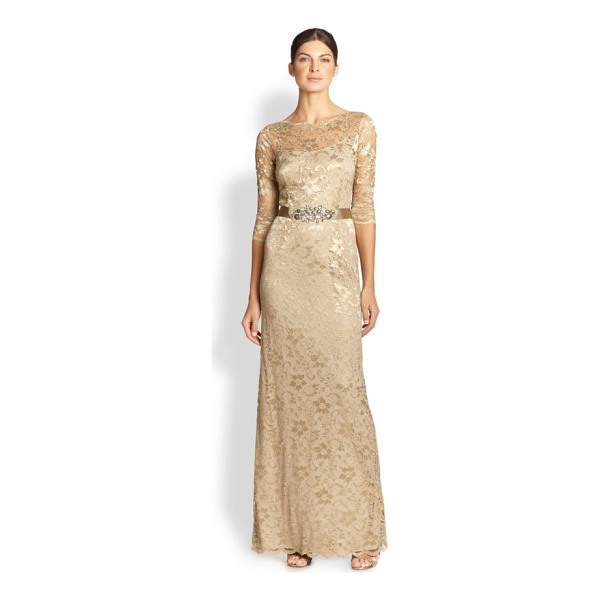 TERI JON Belted lace gown - A bejeweled sash lends a touch of glamour to this...