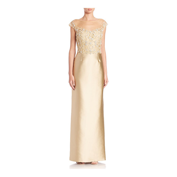 TERI JON Cap-sleeve ruffle-back gown - This spellbinding gown begins with a beaded illusion...