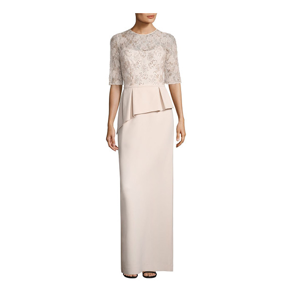 TERI JON embellished lace peplum gown - An embellished lace overlay adds exquisite style to this...