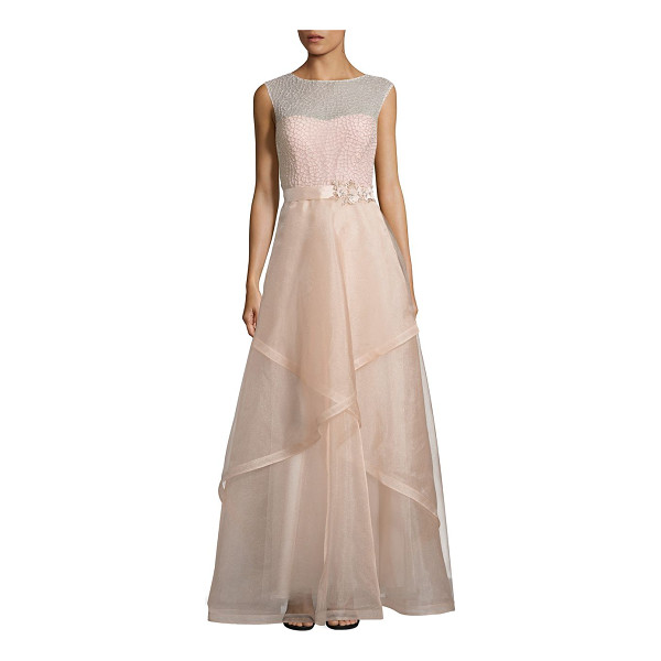 TERI JON embellished tulle ball gown - Romantic beaded ball gown with layered tulle skirt....