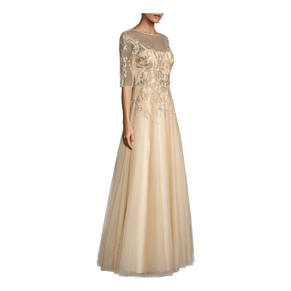 TERI JON embroidered illusion gown - Elegant A-line gown with tonal floral embroidery. Illusion...