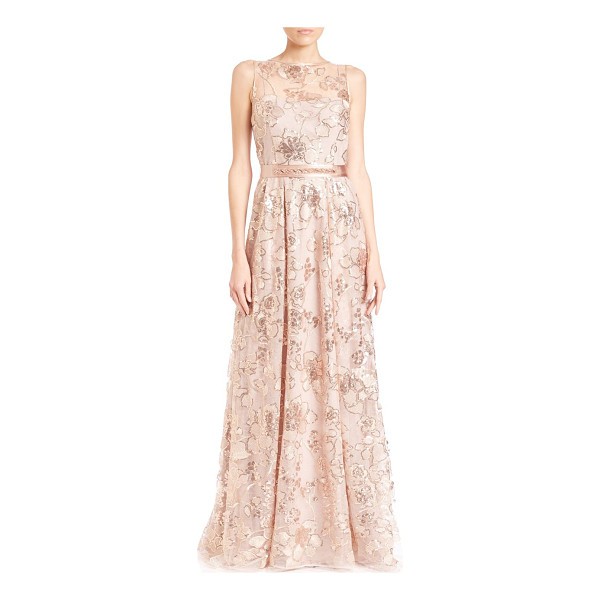 TERI JON Lace sleeveless gown - Belted lace gown with shimmery jeweled...
