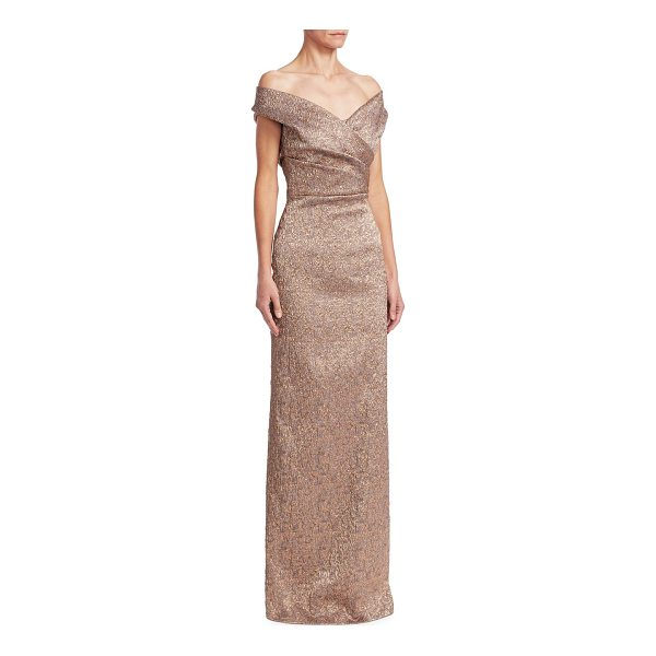 TERI JON off-the-shoulder column gown - Gleaming column gown defined by jacquard texture....