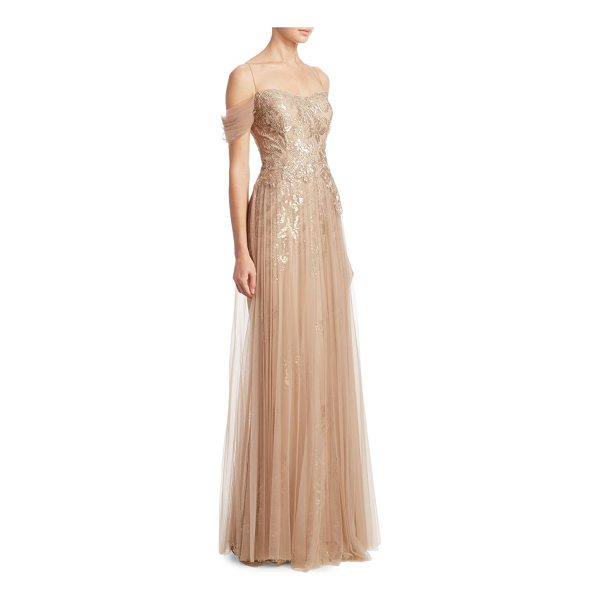 TERI JON off-the-shoulder pleated tulle gown - Timeless gown finished with chiffon overlay....
