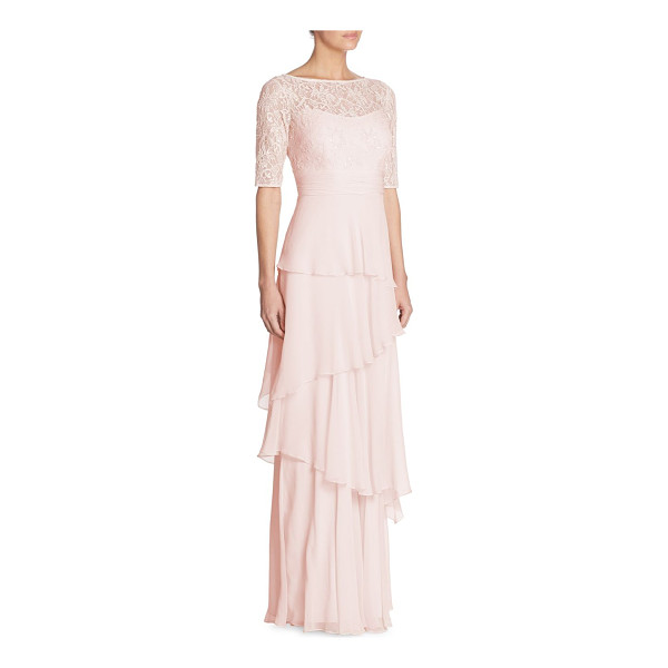 TERI JON tiered lace chiffon gown - Embellished lace bodice tops tiered chiffon skirt....