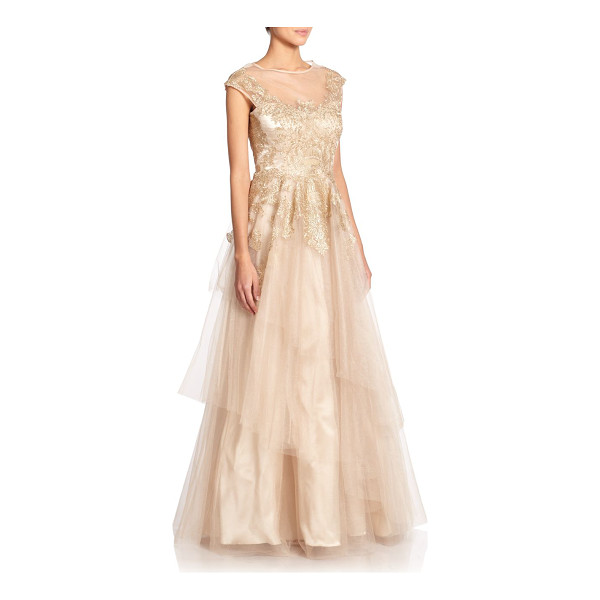 TERI JON Embroidered tulle gown - Airy tulle panels and shimmering embroidery elevate this...