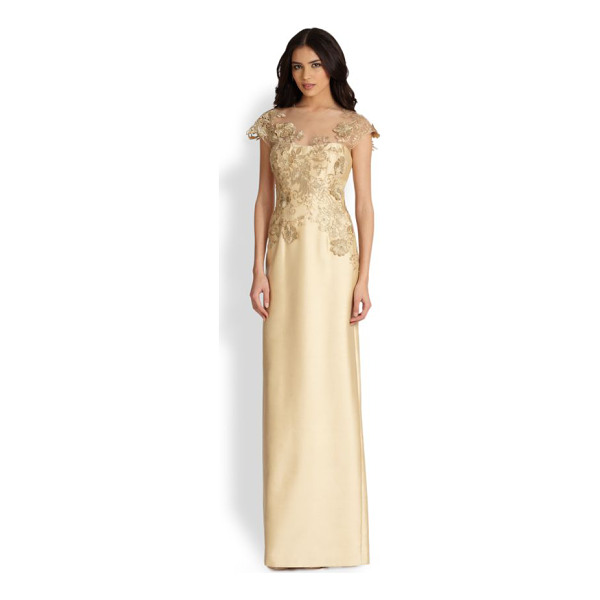 TERI JON Lace-applique gown - Gilded lace applique was carefully placed on this Teri Jon...