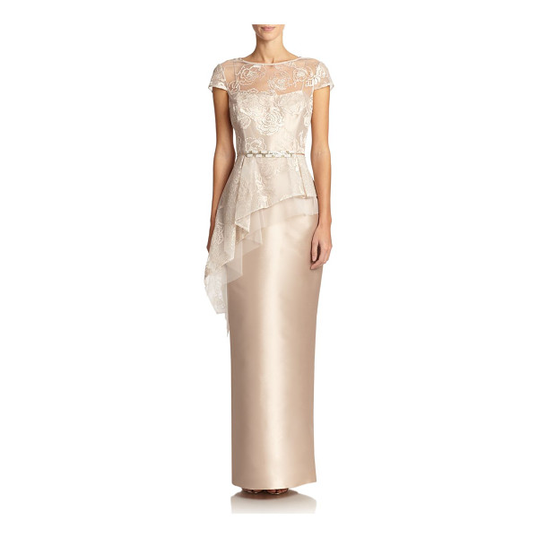 TERI JON Lace-top peplum gown - An asymmetrical floral lace bodice lends a romantic element...