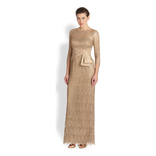 TERI JON Metallic lace gown - A golden-nude lace gown crafted with an illusion top and...