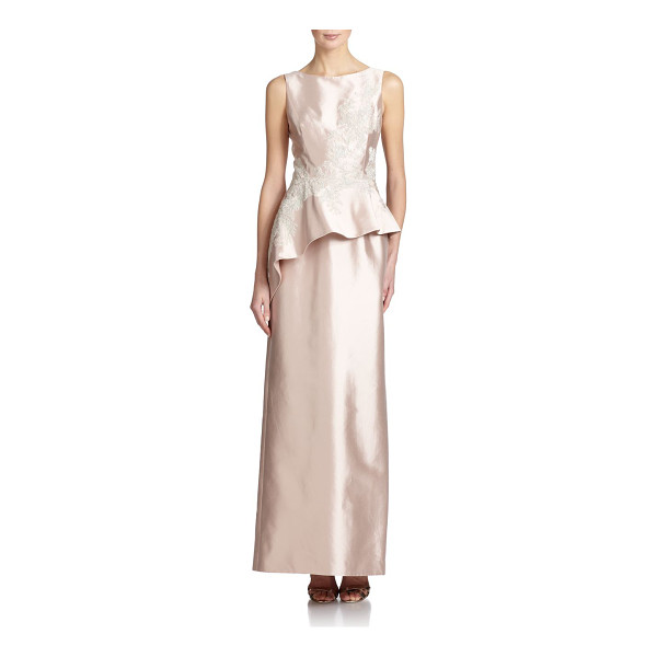 TERI JON Silk satin peplum gown - Delicate metallic lace frosts this graceful satin column...