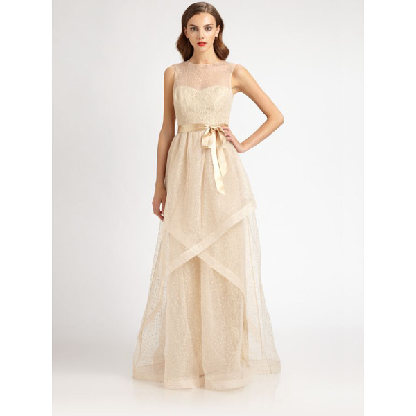 TERI JON Swiss dot tulle gown - Sweet, ethereal Swiss dot tulle, accented with a satin sash...