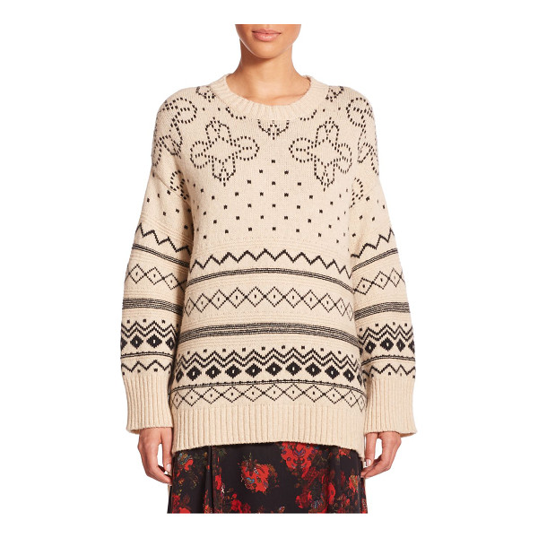 THAKOON Oversized fairisle sweater - An oversized drop-shoulder silhouette updates this classic...