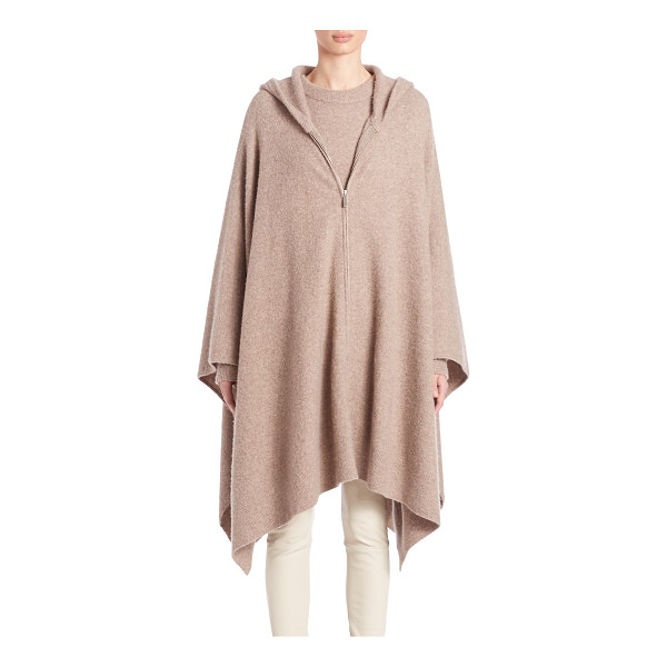 THE ROW asham knit hooded poncho - Hooded zip-front poncho knit in luxe cashmere blend....