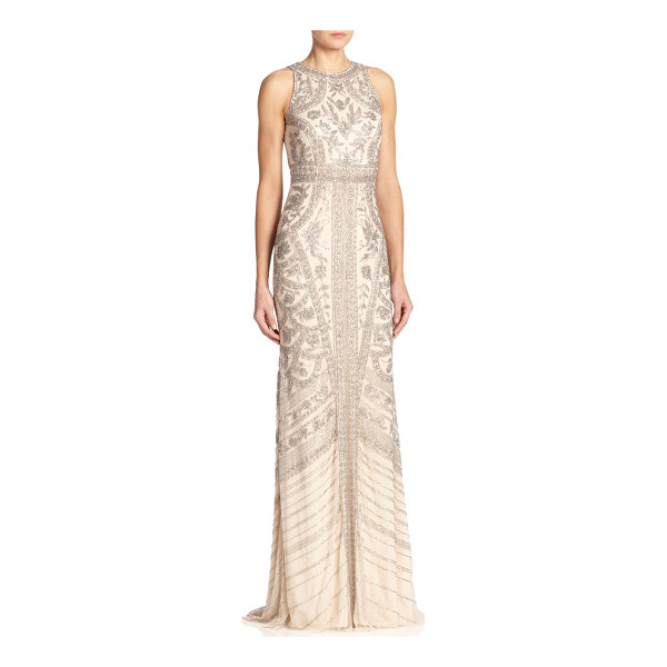 THEIA Beaded halter gown - Allover intricate beading instantly elevates this...