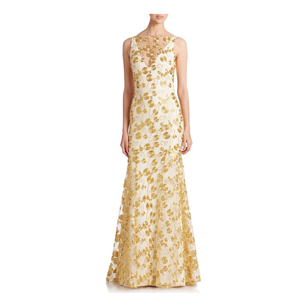 THEIA Embroidered crepe gown - A mesh overlay detailed with metallic gold embroidery gives...