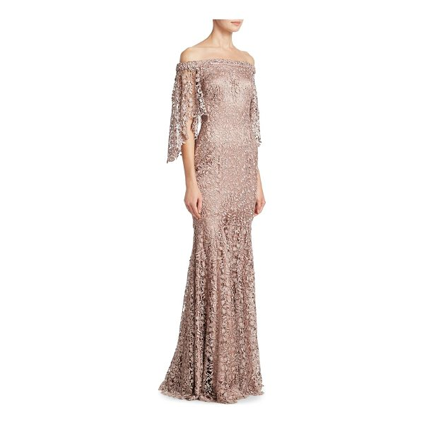 THEIA lace off-the-shoulder gown - Column gown in allover floral overlay. Off-the-shoulder...