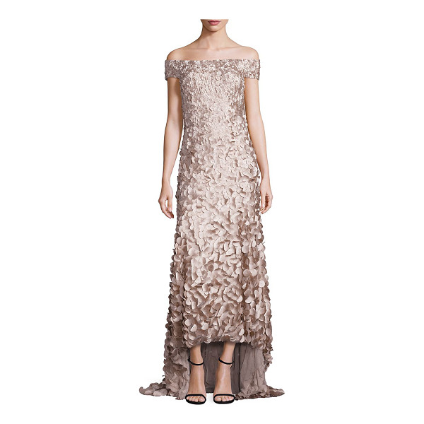 THEIA hi-lo petal gown - Hand embroidered petals completed with glass seed beads....