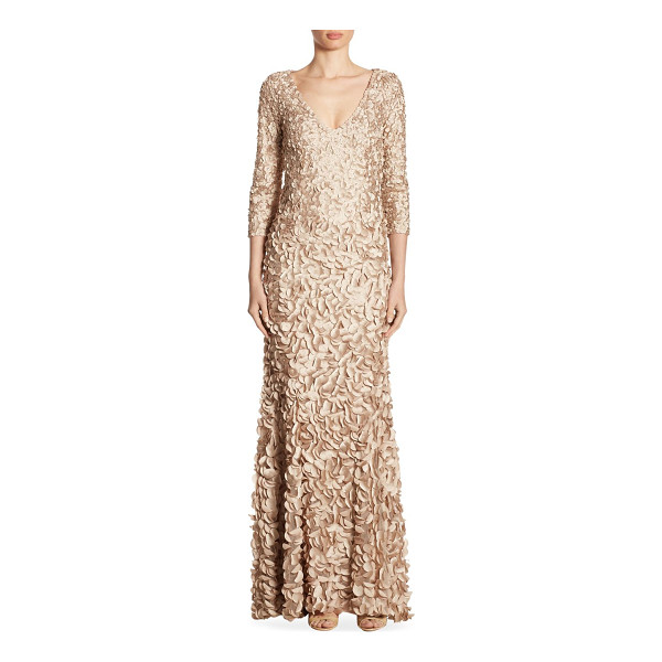THEIA v-neck petal gown - Enchanting gown with allover petal appliques.V-neck....