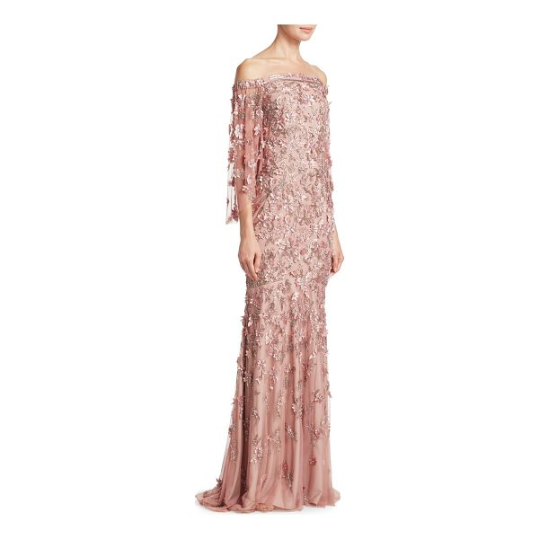 THEIA vintage column gown - Gown with allover beads and floral detailing....