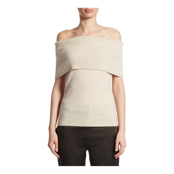 THEORY aflina cashmere off-the-shoulder top - Off-the-shoulder cashmere top with ribbed top overlay....