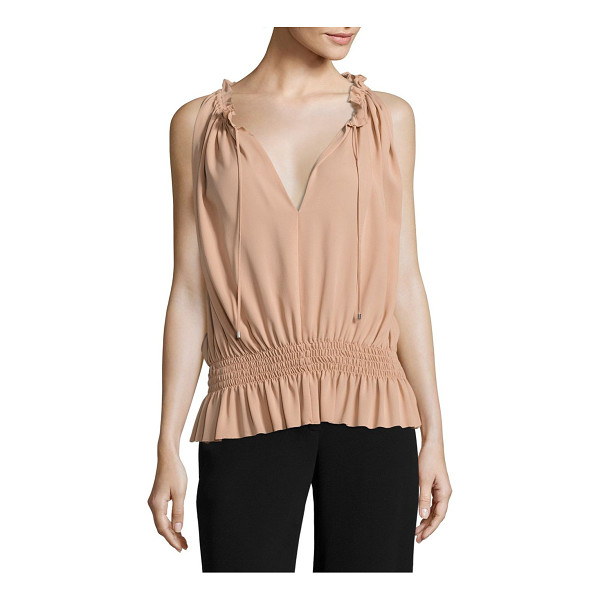 THEORY dezzie smocked silk georgette blouse - Smocked waist nips in airy silk georgette blouse. Split...