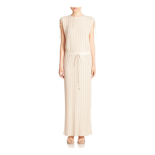 THEORY kurgan pleated drawstring waist gown - Sophisticated tie details elevate this sleek pleated gown....