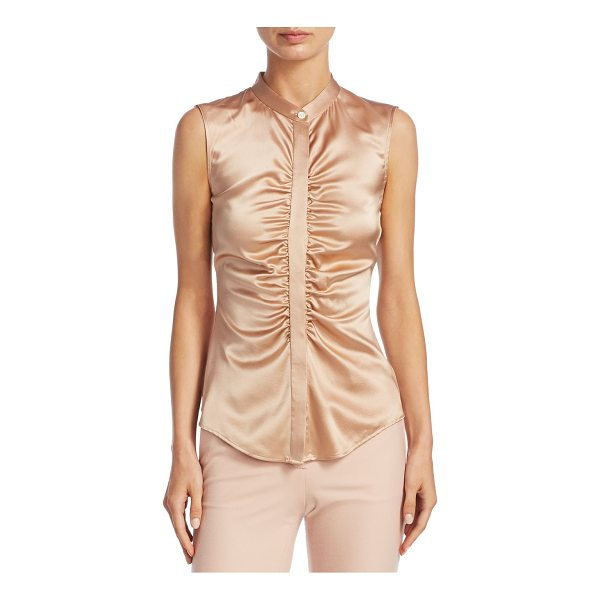 THEORY ruched silk top - Sleeveless silk top with ruched detailing. Crewneck....