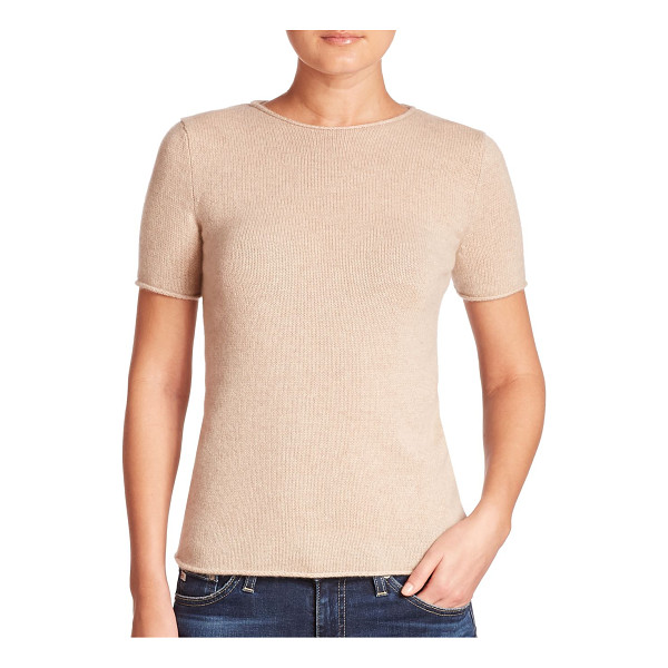 THEORY tolleree cashmere tee - Rib-knit tee crafted from luxe cashmere. Jewelneck. Short...