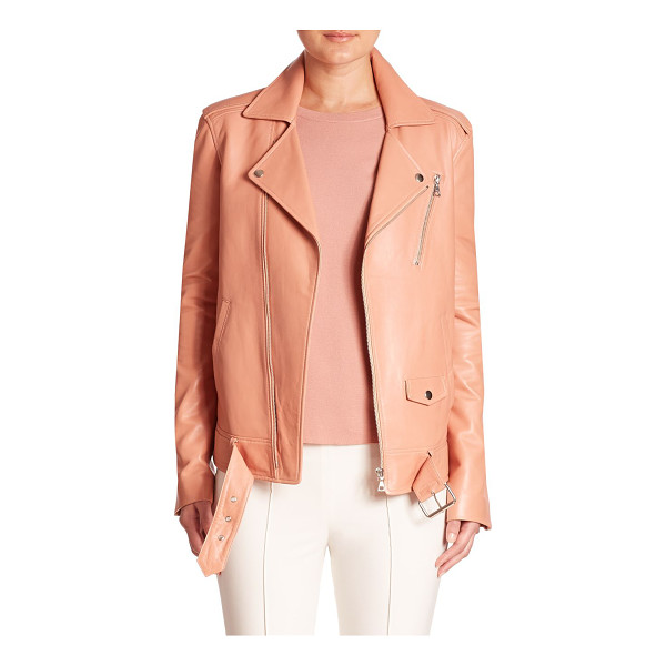THEORY tralsmin leather moto jacket - Supple leather moto jacket in oversized silhouette....