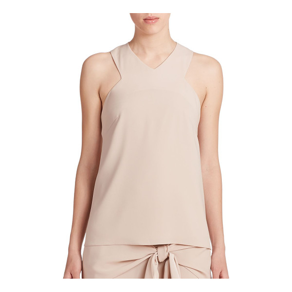 TIBI Bibelot crepe racerback tank top - Cut-in shoulders and a sporty racerback lend dynamic shape...