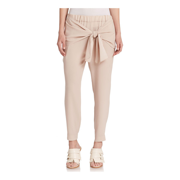 TIBI Bibelot crepe tie-waist pants - A draped tie waist lends a sense of athletic cool to these...