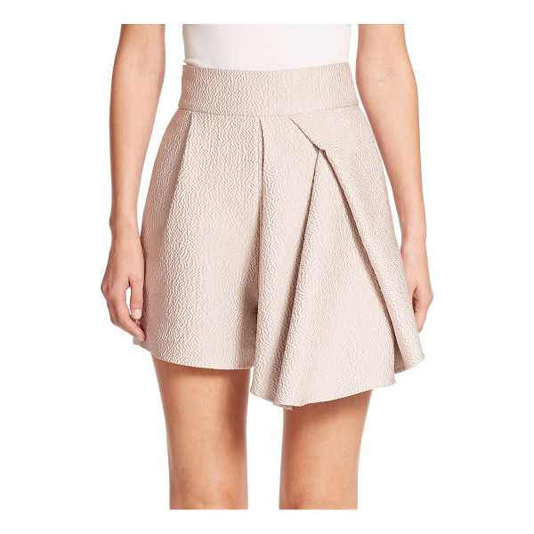 TIBI Corazon draped jacquard shorts - A strategically tucked, draped and pleated panel lends a...