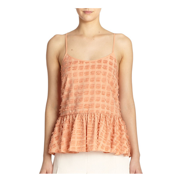 TIBI Fil coupe fringe tank top - A fluttery, feminine top characterized by allover eyelash...