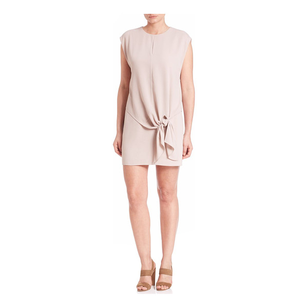 TIBI savanna crepe tie dress - Tie-front accented dress in a blush hue. Roundneck....