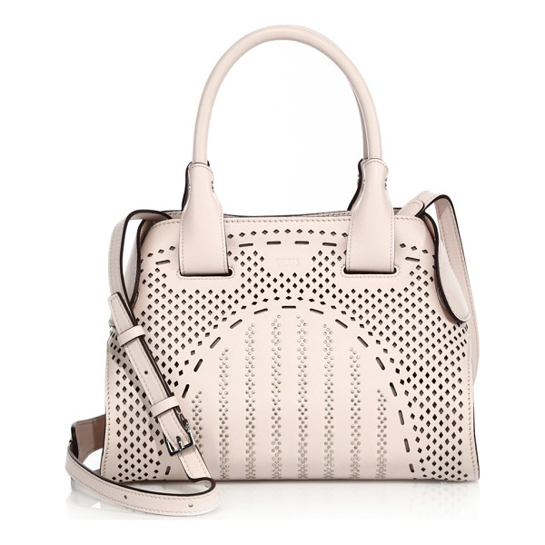 TOD'S cape mini studded laser-cut leather satchel - Perforated leather satchel with snug magnetic side tabs....
