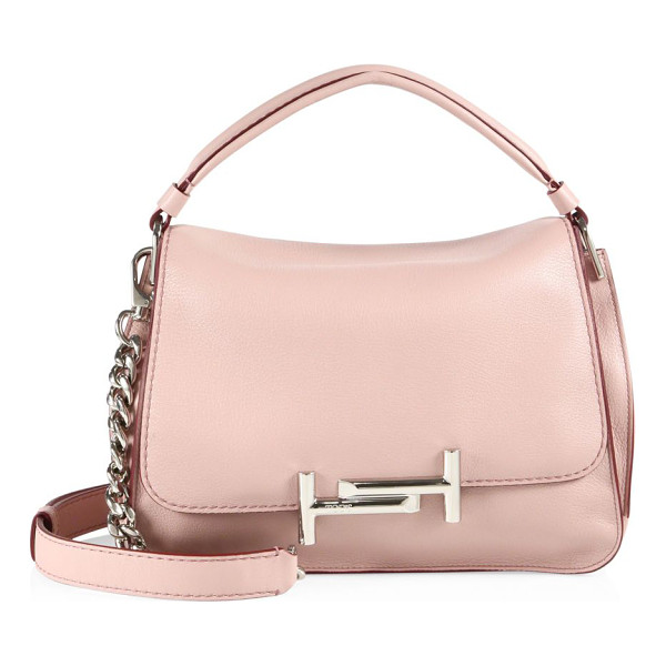 TOD'S double t leather messenger bag - Gleaming double-T hardware polishes luxe leather bag. Top...