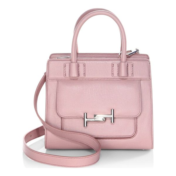 TOD'S double-t leather satchel - Satchel with iconic fastening in branded metal. Double top...