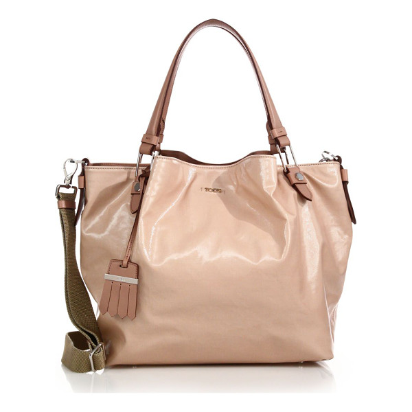 TOD'S Flower small coated canvas tote - Glossy coated canvas is cinched to create the Flower...