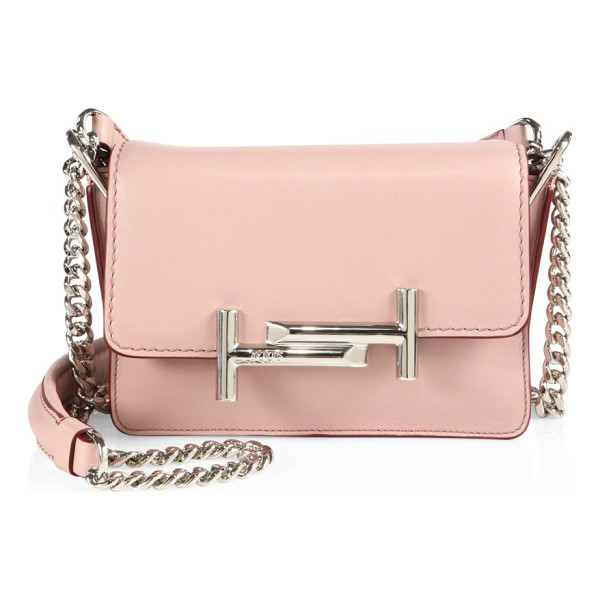 TOD'S mini double t leather & chain crossbody bag - Glossy double-T hardware polishespetite leather bag.