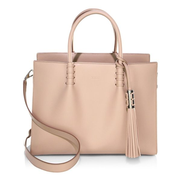 TOD'S leather satchel - Satchel featuring side snap details. Top carry handles....