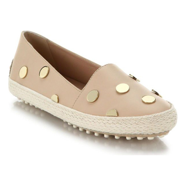TOD'S Studded leather espadrilles - Light-catching metal studs create a luxe polka-dot pattern...