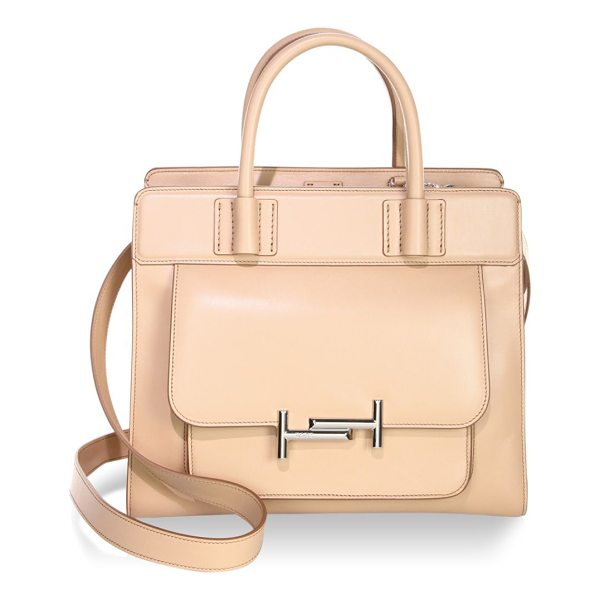 TOD'S zippered leather satchel - Leather satchel with metallic detail in front. Double top...