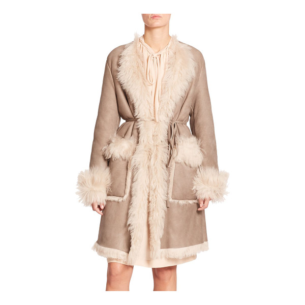 TOMAS MAIER Belted shearling coat - A slender tie belt defines the waist of this butter-smooth...